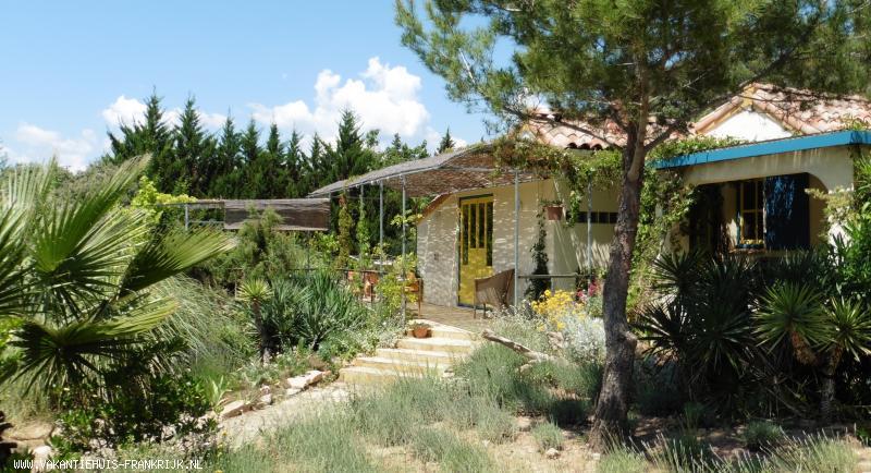 Vakantiehuis: vakantiehuis 2-4 personen met Wifi, zwembad en terrassen. Bijzondere tuin op groot terrein. Mooi wijndorp. Winkels nabij. Natuur en rust. te huur voor uw vakantie in Herault (Frankrijk)