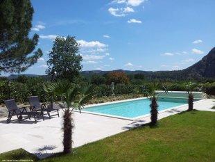 zwembad, tuin en vallei van de Ardèche <br>het grote zwembad (5x10m) is conform franse wet beveiligd met een roldek