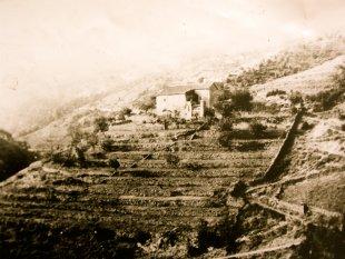 Foto vanaf de heuvel aan de overzijde uit circa 1850 <br>Op deze oude foto's zijn de terrassen goed zichtbaar waarop de lokale boeren hun groenten verbouwden en waar de geiten graasden.