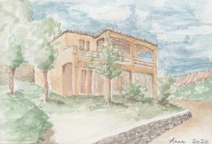 <br>Villa Soleil Cévenol zoals gezien en geschilderd door Anne van Acker, een van onze gasten in 2020.