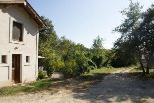 De toegangsweg naar Maisonnette Parkeren kan direct voor het huis of rechts, in de schaduw van de bomen. Iets verderop liggen de stallen