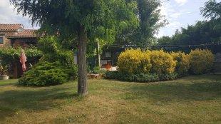 tuin <br>Zicht op de zijkant van het huis, met het zwembad achter de struiken