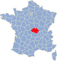 Kaart Frankrijk: departement Allier