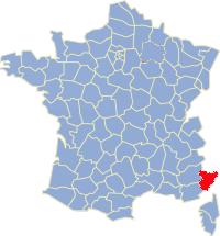 Kaart Frankrijk: departement Alpen Maritimes