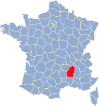 Kaart Frankrijk: departement Ardeche