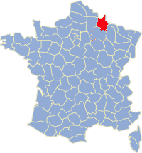 Kaart Frankrijk: departement Ardennes