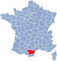Kaart Frankrijk: departement Aude