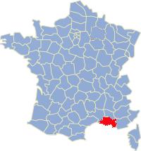 Kaart Frankrijk: departement Bouches du Rhone