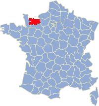 Kaart Frankrijk: departement Calvados
