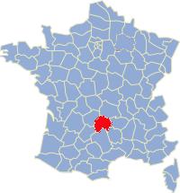 Kaart Frankrijk: departement Cantal