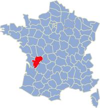 Kaart Frankrijk: departement Charente