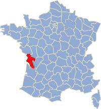 Kaart Frankrijk: departement Charente Maritime