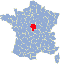 Kaart Frankrijk: departement Cher