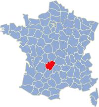Kaart Frankrijk: departement Correze