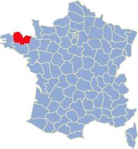 Kaart Frankrijk: departement Cotes d'Armor