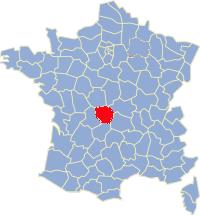 Kaart Frankrijk: departement Creuse
