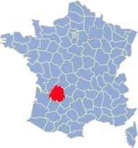 Kaart Frankrijk: departement Dordogne