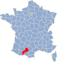 Kaart Frankrijk: departement Haute Garonne