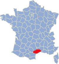 Kaart Frankrijk: departement Herault