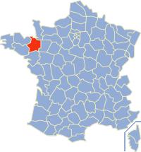 Kaart Frankrijk: departement Ille et Vilaine