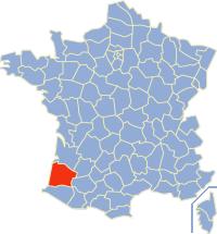 Kaart Frankrijk: departement Landes