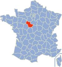 Kaart Frankrijk: departement Loir et Cher