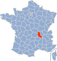 Kaart Frankrijk: departement Loire