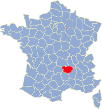 Kaart Frankrijk: departement Haut Loire