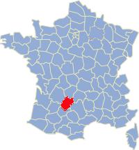 Kaart Frankrijk: departement Lot
