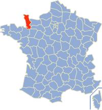 Kaart Frankrijk: departement Manche
