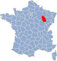 Kaart Frankrijk: departement Haute Marne