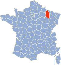 Kaart Frankrijk: departement Meuse