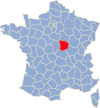Kaart Frankrijk: departement Nievre