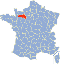 Kaart Frankrijk: departement Orne