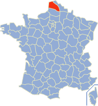 Kaart Frankrijk: departement Pas de Calais