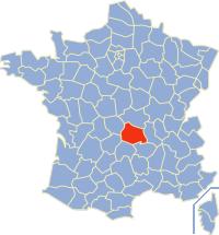 Kaart Frankrijk: departement Puy de Dome