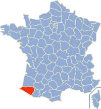 Kaart Frankrijk: departement Pyreneeen Atlantiques