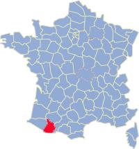 Kaart Frankrijk: departement Hautes Pyreneeen