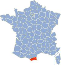 Kaart Frankrijk: departement Pyreneeen Orientales