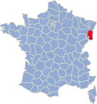 Kaart Frankrijk: departement Haut Rhin