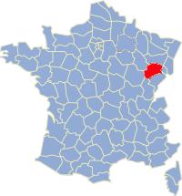 Kaart Frankrijk: departement Haute Saone