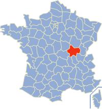 Kaart Frankrijk: departement Saone et Loire
