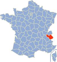Kaart Frankrijk: departement Savoie