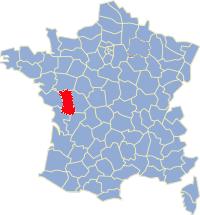 Kaart Frankrijk: departement Deux Sevres