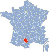Kaart Frankrijk: departement Tarn
