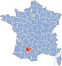 Kaart Frankrijk: departement Tarn et Garonne