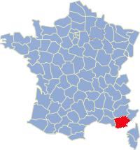 Kaart Frankrijk: departement Var