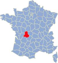 Kaart Frankrijk: departement Haute Vienne