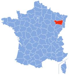 Kaart Frankrijk: departement Vosges (Vogezen)