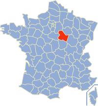 Kaart Frankrijk: departement Yonne